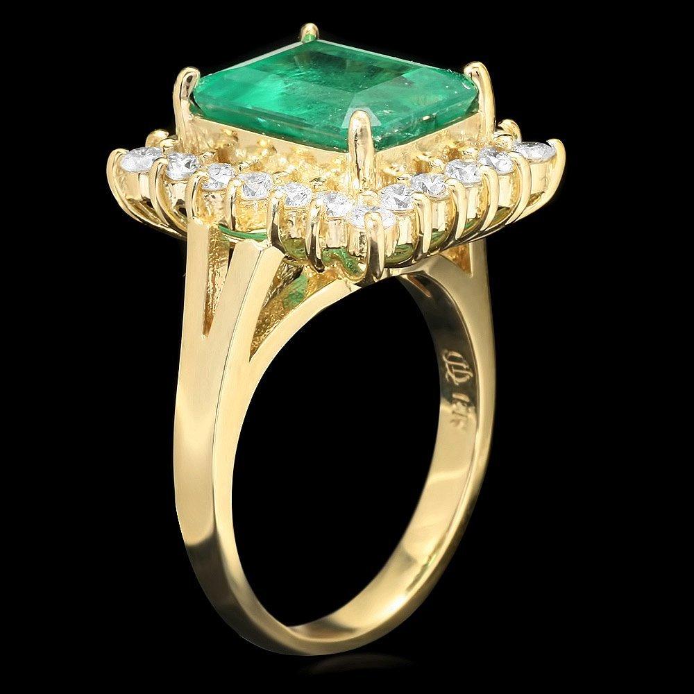 18K YELLOW GOLD 4.30CT EMERALD 1CT DIAMOND RING - 2
