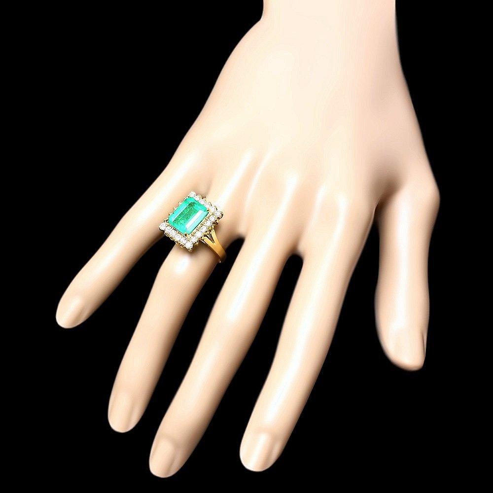 18K YELLOW GOLD 4.30CT EMERALD 1CT DIAMOND RING - 3