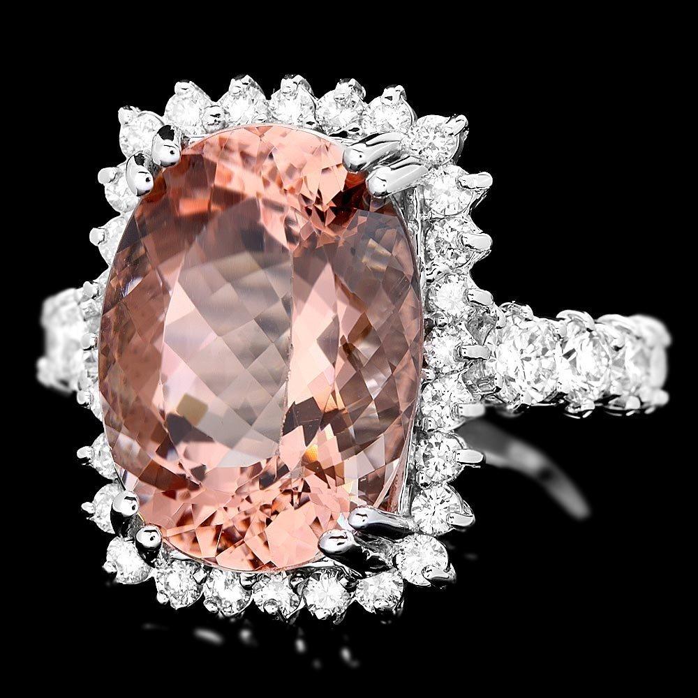 14K WHITE GOLD 9.00CT MORGANITE 1.50CT DIAMOND RING