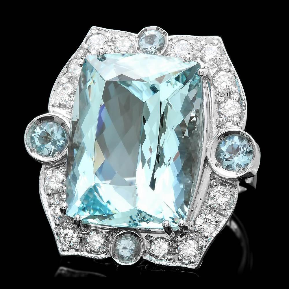 14K WHITE GOLD 22CT AQUAMARINE 1.30CT DIAMOND RING