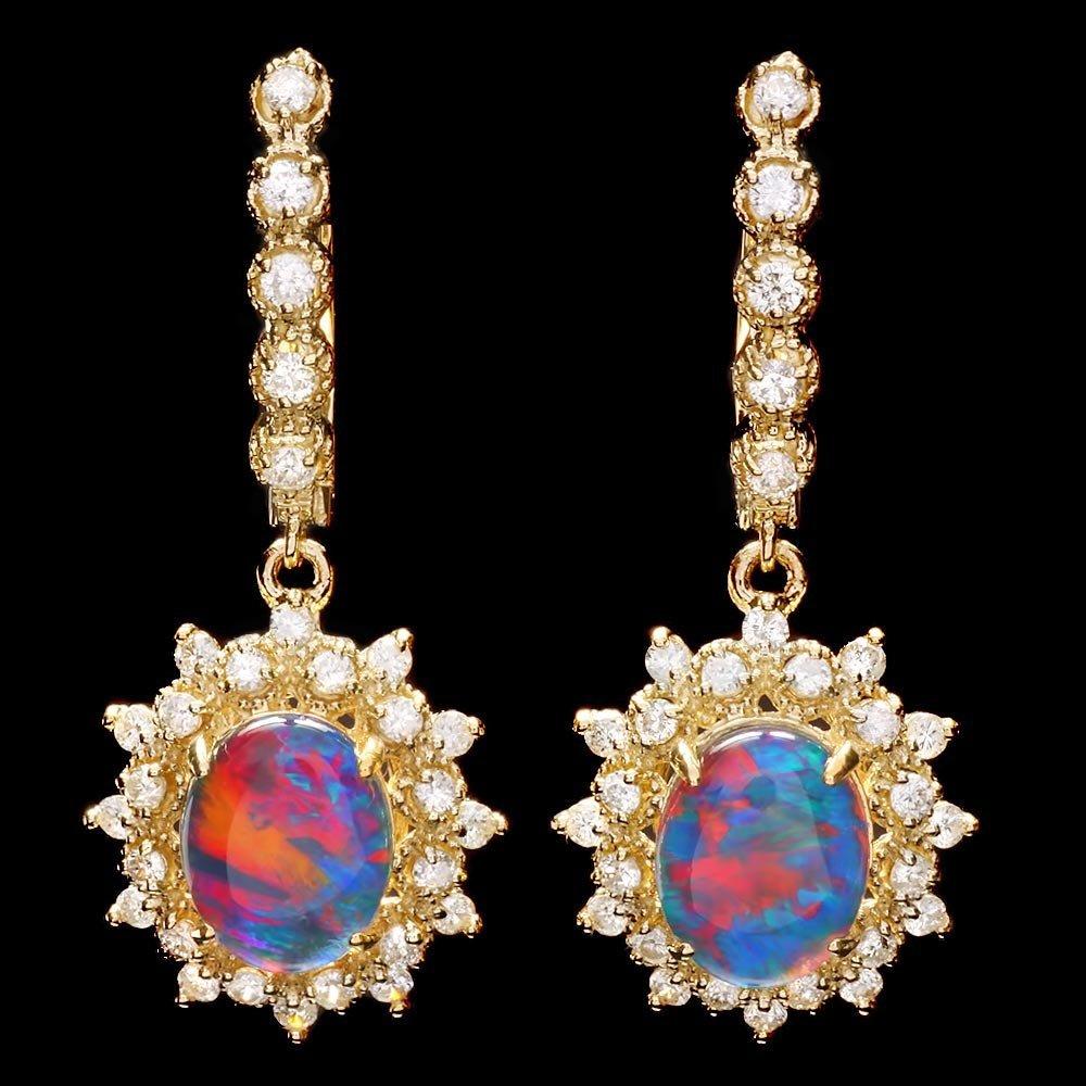 14K YELLOW GOLD 3.70CT OPAL 1.30CT DIAMOND EARRINGS