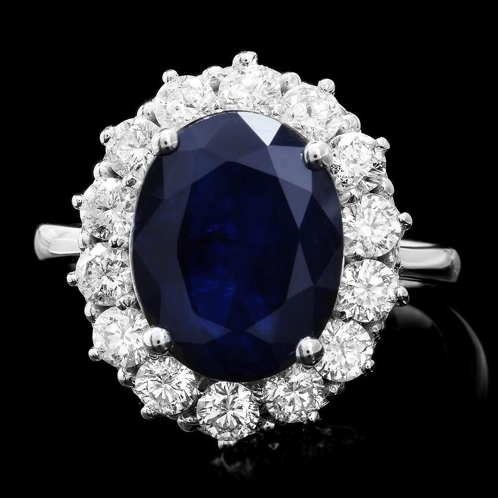 14K WHITE GOLD 6.00CT SAPPHIRE 1.40CT DIAMOND RING