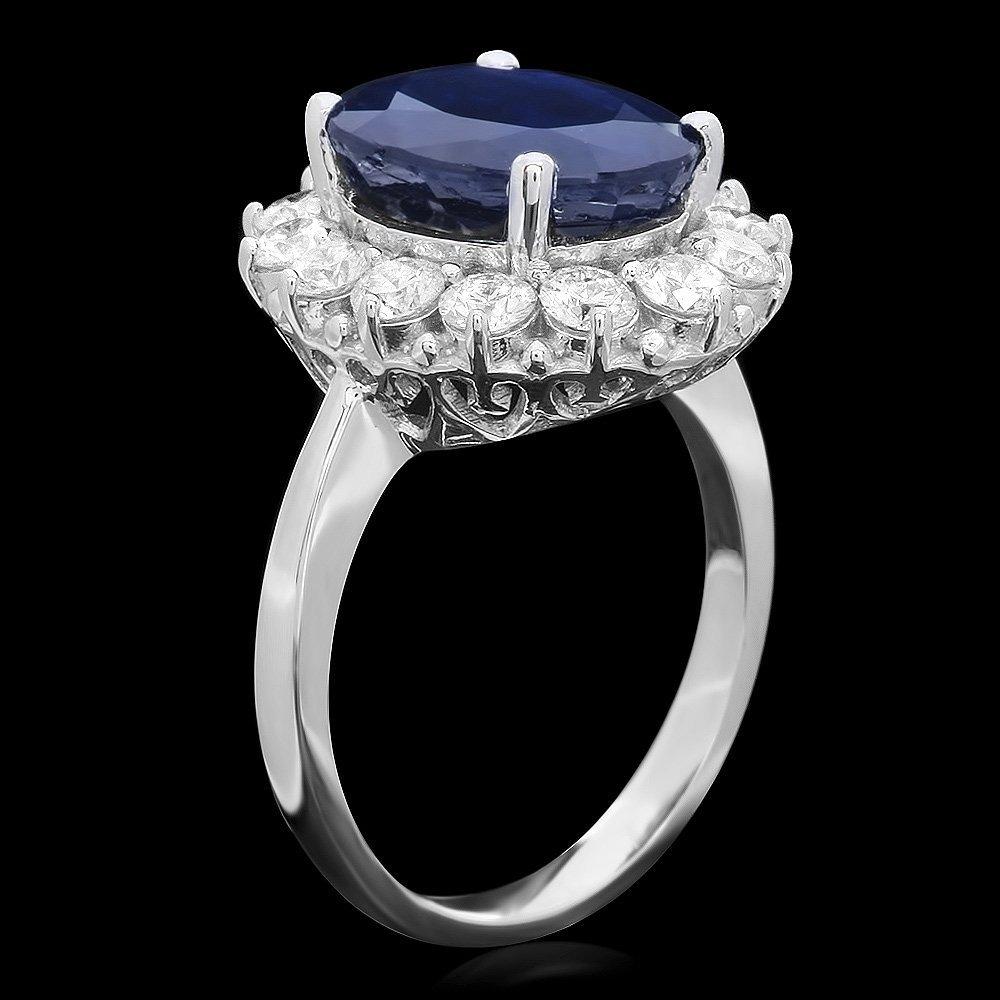 14K WHITE GOLD 6.00CT SAPPHIRE 1.40CT DIAMOND RING - 2