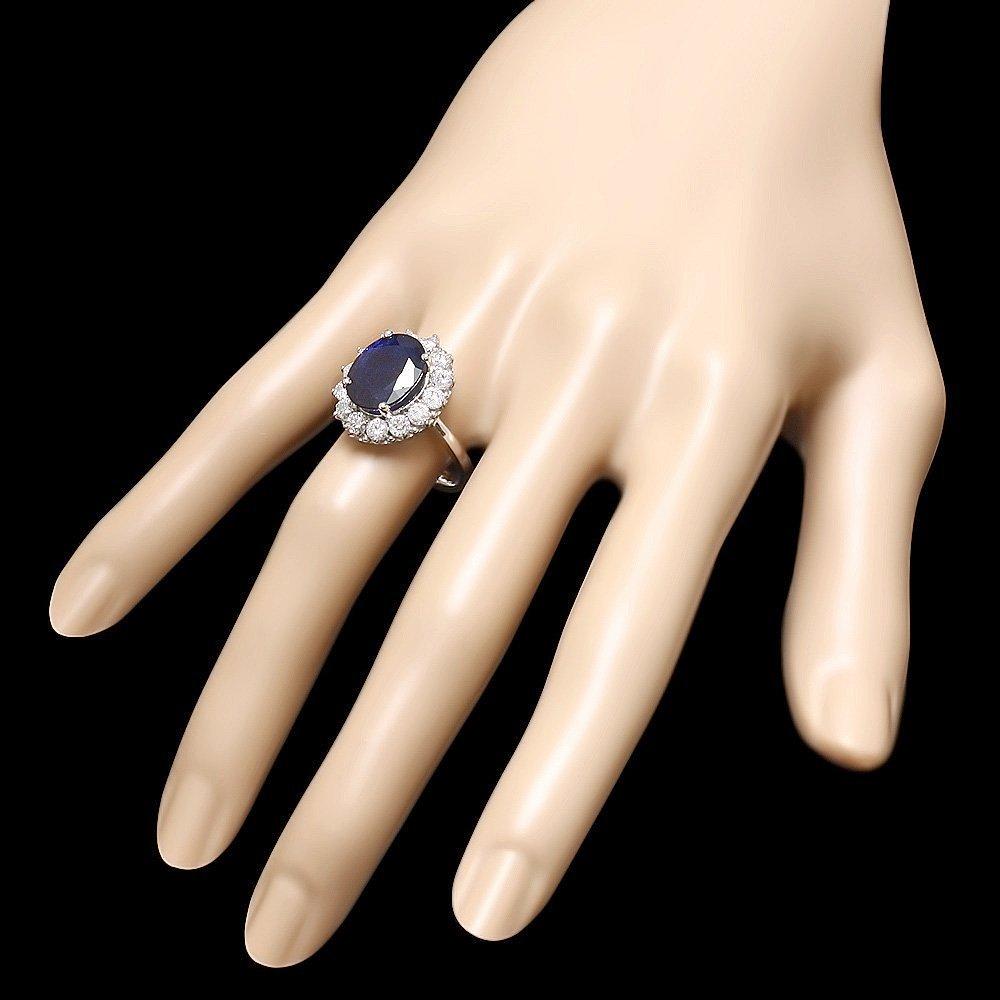 14K WHITE GOLD 6.00CT SAPPHIRE 1.40CT DIAMOND RING - 3