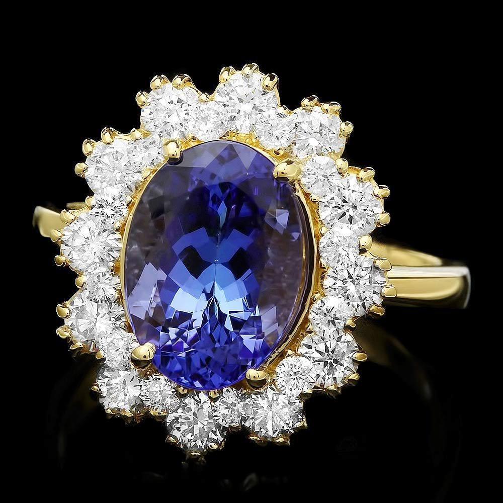 14K YELLOW GOLD 3.69CT TANZANITE 1.35CT DIAMOND RING