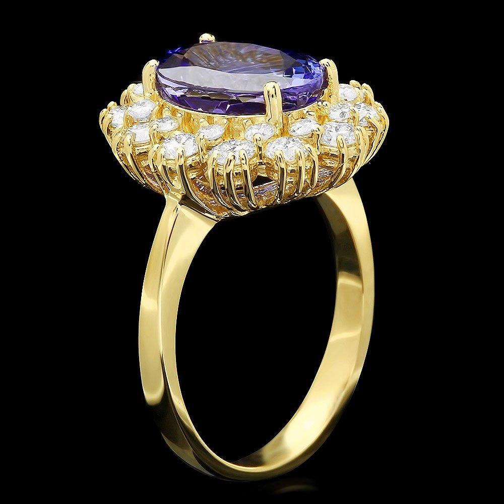 14K YELLOW GOLD 3.69CT TANZANITE 1.35CT DIAMOND RING - 2