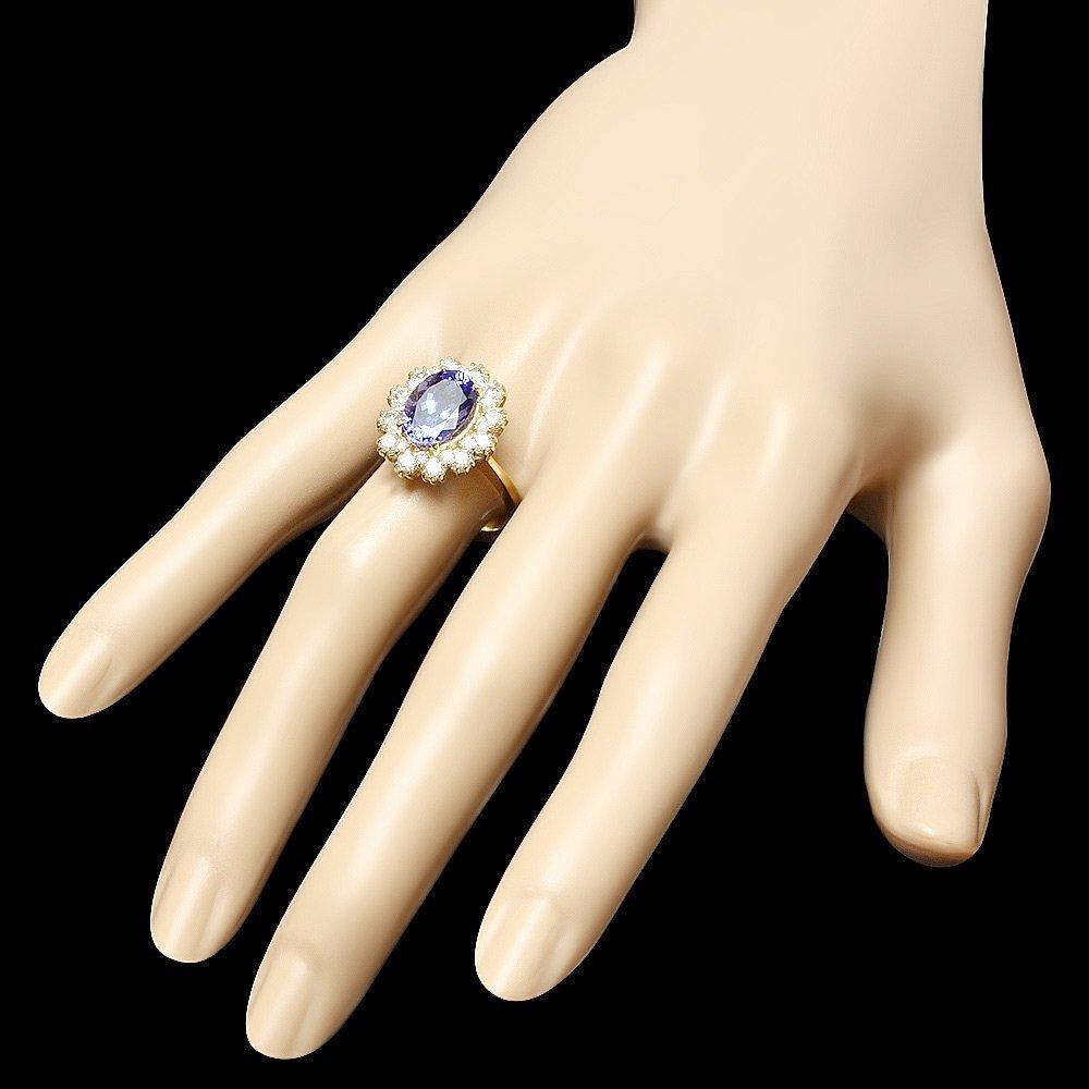 14K YELLOW GOLD 3.69CT TANZANITE 1.35CT DIAMOND RING - 3