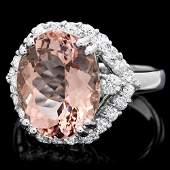 14K WHITE GOLD 6.00CT MORGANITE 1.00CT DIAMOND RING
