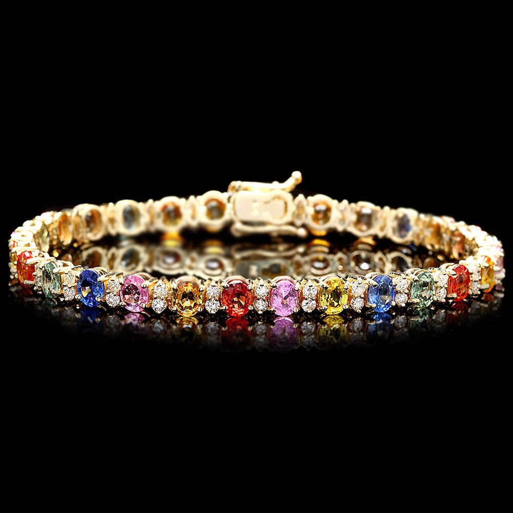 14K WHITE GOLD 12CT SAPPHIRE 1.80CT DIAMOND BRACELET