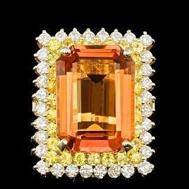14K YELLOW GOLD 17.50CT CITRINE  1.90CT DIAMOND RING