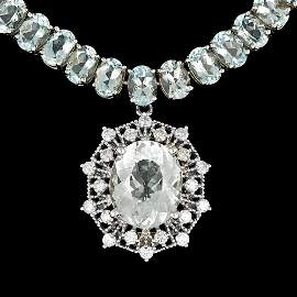14K W GOLD 61CT AQUAMARINE 1.40CT DIAMOND NECKLACE
