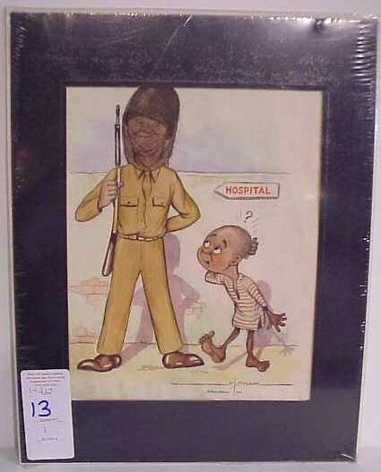 1013: Al Bryzon signed cartoon of soldier & young child