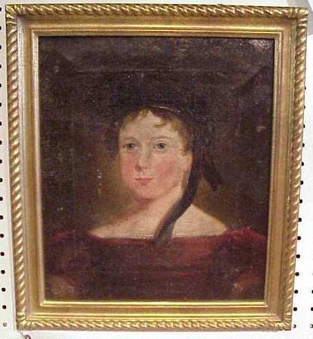 1018: 19th C. English School portrait of young girl in