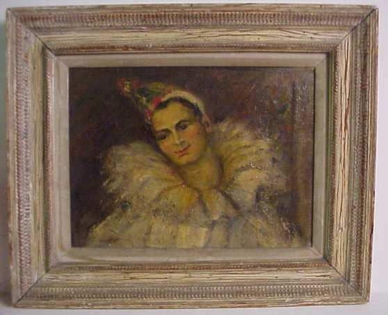 1036: Clown painting, signed lower left Sagaphi, oil on