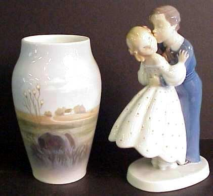 "1005A: Royal Copenhagen scenic vase 6"" and B&G girl and"