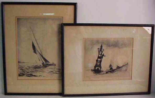 "1021: Two etchings: Gordon Grant (1865-1972, NY)  ""Chan"