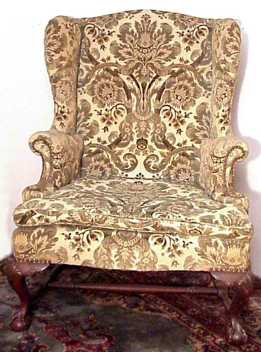 2020: Chippendale style wing chair, ball and claw foot,