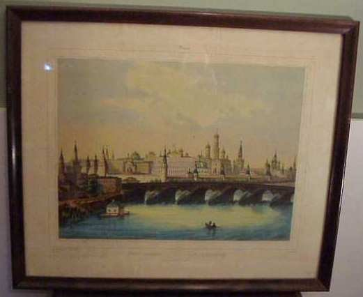 2011: Hand colored Russian lithograph of Moscow, framed