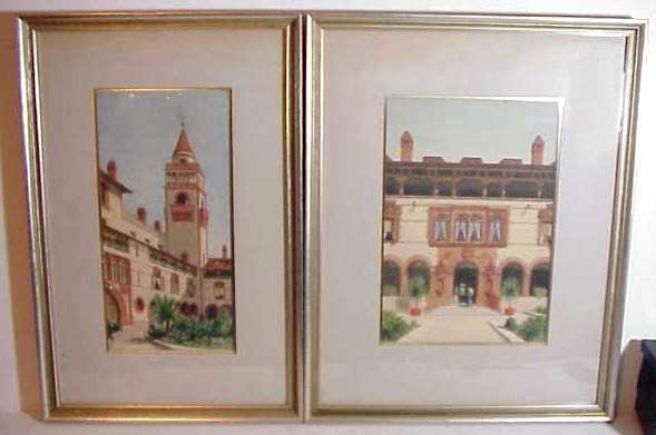 2023: Two European courtyard scenes, watercolor,  unsig