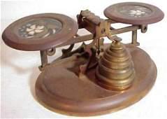 2156 American gilt brass  pietra dura postage scale