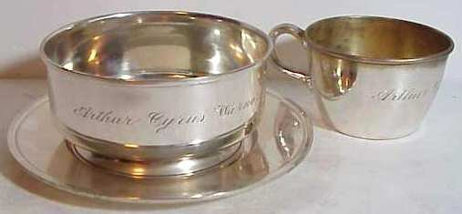 2002: 3 pc sterling silver baby set, cup, bowl & under