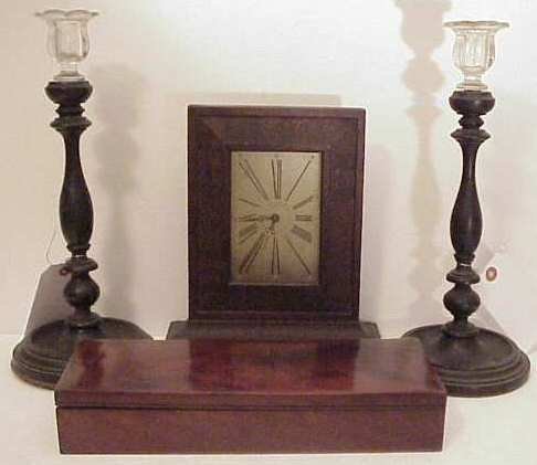 2003: Pr mahogany candlesticks with glass bobeches,  Wa