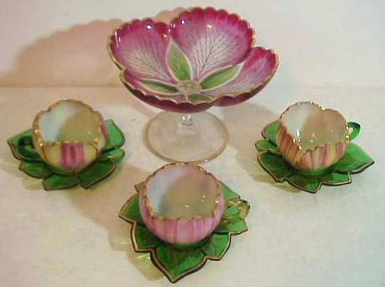 2010: Set 3 hand painted tulip shape glass cups &  sauc