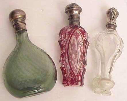 2014: Three late 19thc scent bottles: green glass with