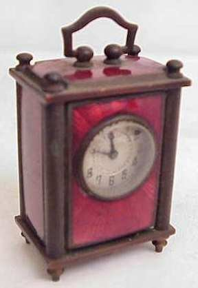 2017: Red French enamel & silver travel clock, c 1870,