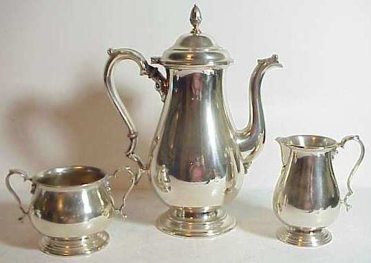 2018: International sterling silver 3 pc tea set,  incl