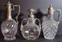2167 3 glass  sterling decanters English silver with
