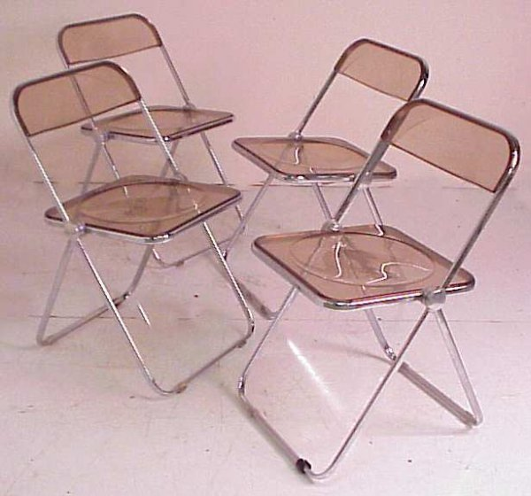 2011: Set 4 Castelli / Italy Plia folding chairs,  al