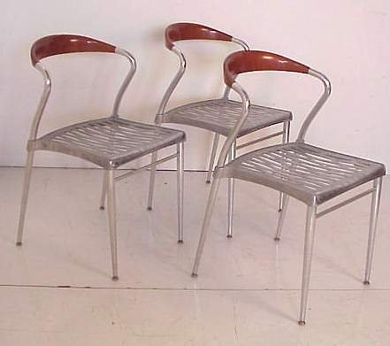 2348: Luigi Origlia / Italy three Piuma side chairs, al