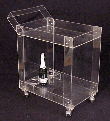 "2018: 60's Lucite Bar Cart on casters.32 1/2"" x 16"" x24"