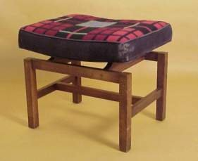 2019: Danish Modern stool, oiled walnut and upholstered