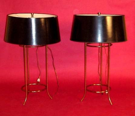 2193: Hansen pair of table lamps, color sprayed metal