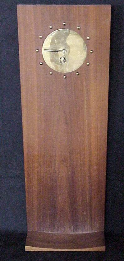 2022: Danish Modern wall clock, teak veneer & brass,  c