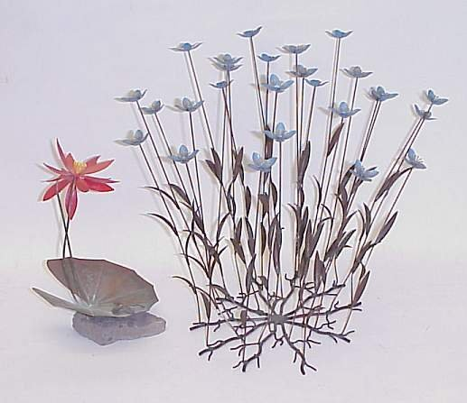 2002: (2pcs) Modern floral sculptures signed Vasili  we