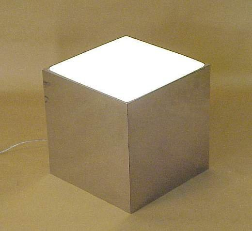 "2007: Chrome and frosted glass illuminated cube, 12""h,"