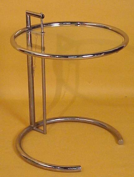 2016: Eileen Gray style table, tubular chrome steel and