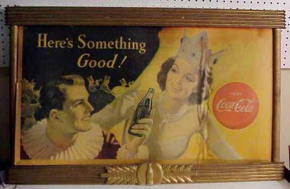 1011: Coca Cola ad in original Coke frame, circa 1950's