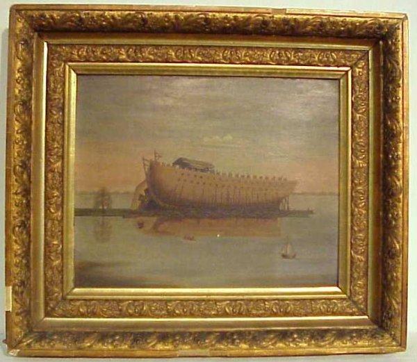 """1016: 19/20thc Noah's Ark seascape, oil on board,  11""""x"""
