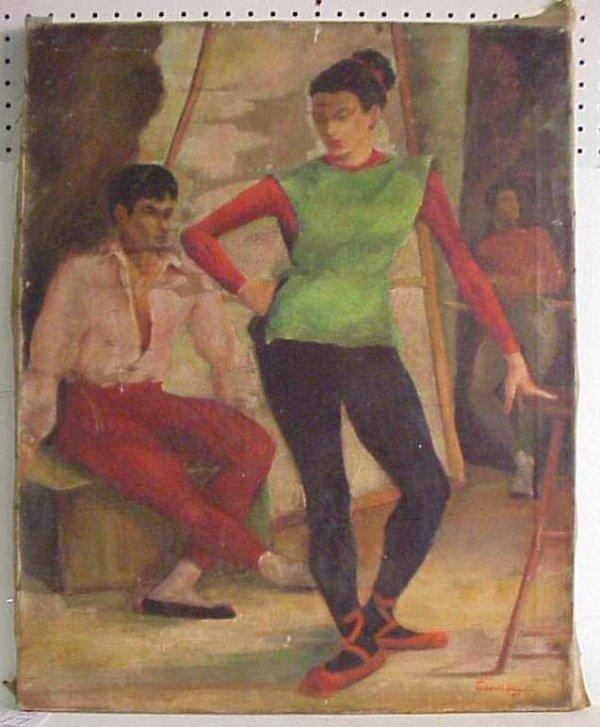 "1017: ""Ballet Dancers"" oil on canvas, 30"" x 24"", signed"