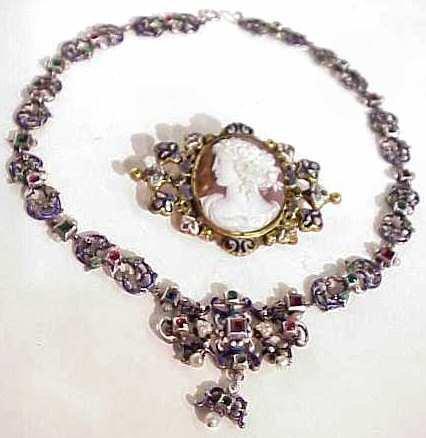 1024: Hungarian enameled metal Renaissance style  neckl
