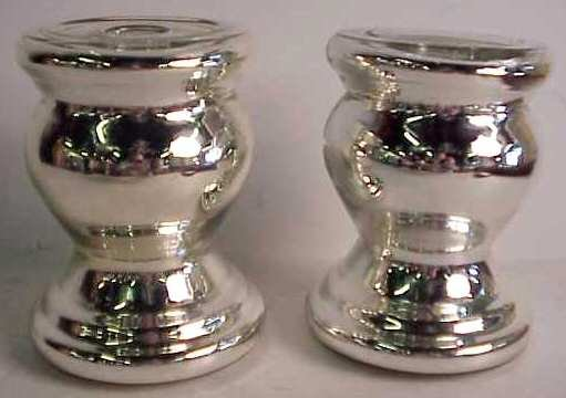 1028: Pair of mercury glass single light candlesticks