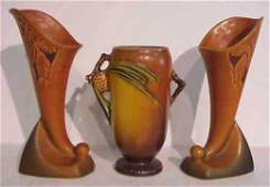 """1062: Roseville pinecone vase 6 1/2""""h and a pair of Ro"""