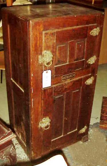 """1015: Victorian Monarch oak two door ice box 42""""h x 21"""""""