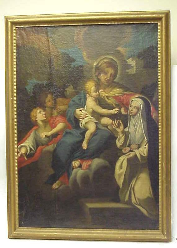 5006: 18/19th C Italian Madonna and child, oil on  canv