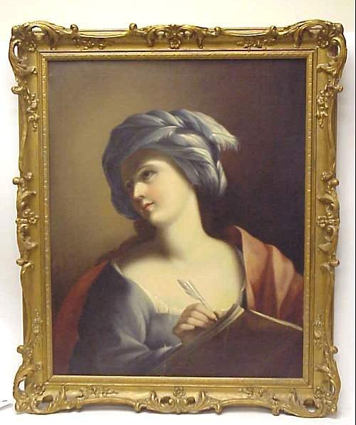 5010: 19th C portrait of a turbaned lady with a quill,