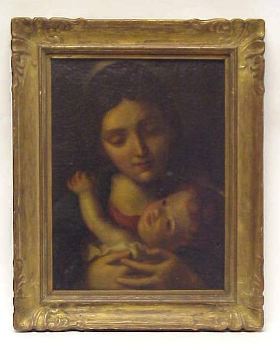 """5015: 18/19th C Mother and Child, oil on canvas, 18"""" x"""